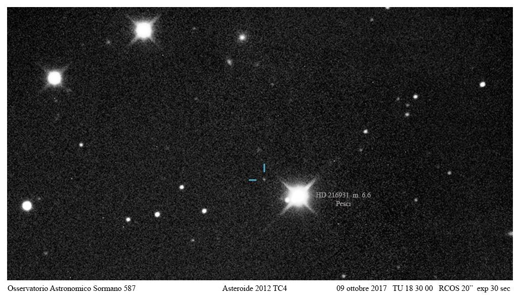 Incontro ravvicinato - asteroide 2012 TC4