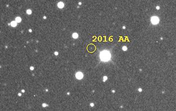 Il caso del pianetino 2016 AA