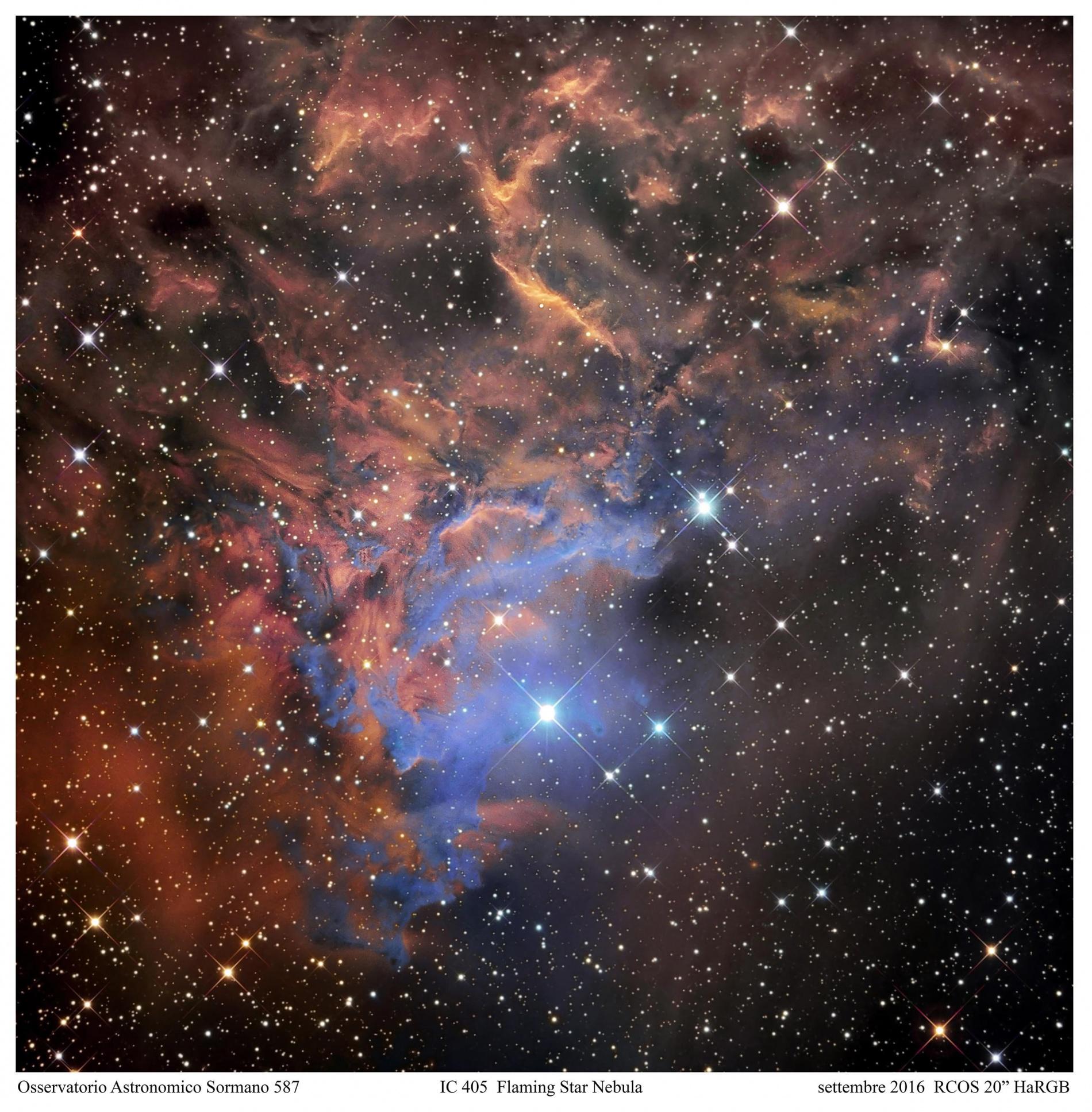 La stella fuggitiva di una nebulosa fiammeggiante