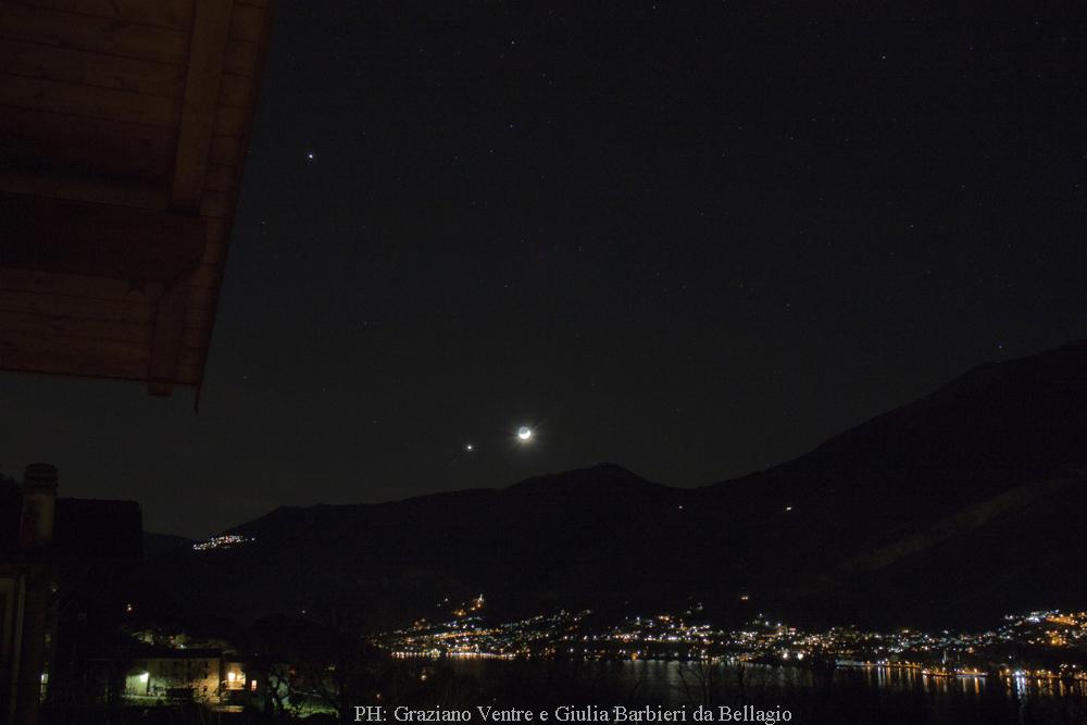 Luna Venere Giove con paesaggio